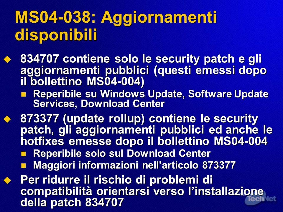 MS04-038: Aggiornamenti disponibili 834707 contiene solo le security patch e gli aggiornamenti pubblici (questi emessi dopo il bollettino MS04-004) 83