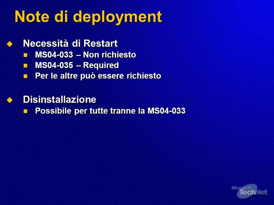 Note di deployment Necessità di Restart Necessità di Restart MS04-033 – Non richiesto MS04-033 – Non richiesto MS04-035 – Required MS04-035 – Required