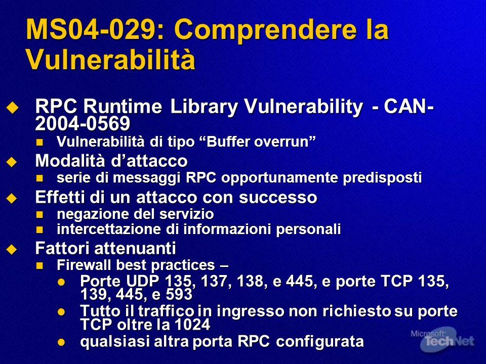 MS04-029: Comprendere la Vulnerabilità RPC Runtime Library Vulnerability - CAN- 2004-0569 RPC Runtime Library Vulnerability - CAN- 2004-0569 Vulnerabi