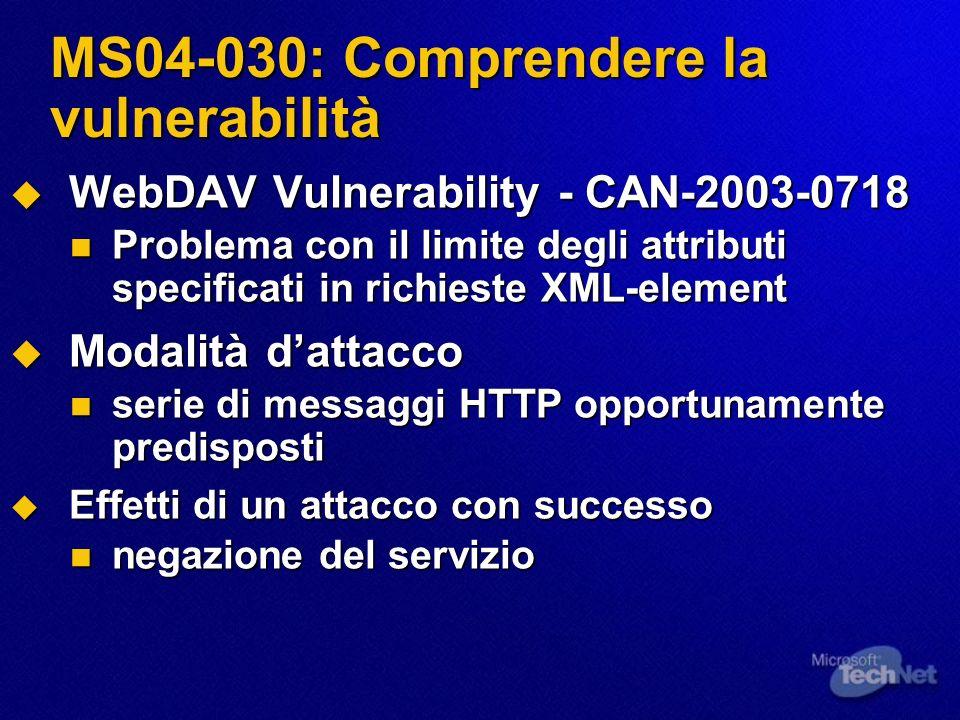MS04-030: Comprendere la vulnerabilità WebDAV Vulnerability - CAN-2003-0718 WebDAV Vulnerability - CAN-2003-0718 Problema con il limite degli attribut
