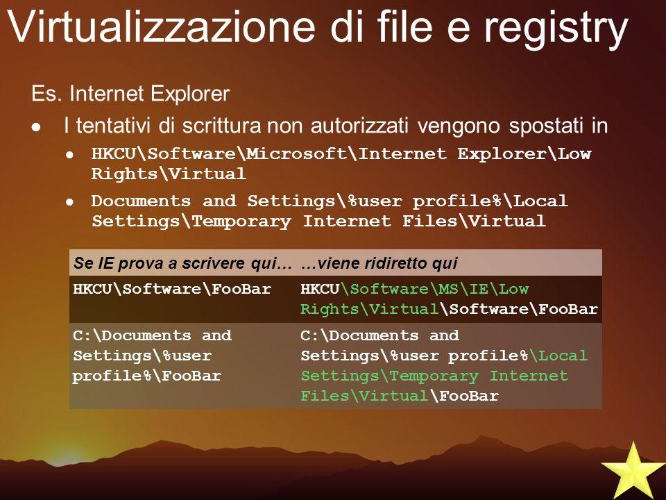 Virtualizzazione di file e registry Es. Internet Explorer I tentativi di scrittura non autorizzati vengono spostati in HKCU\Software\Microsoft\Interne