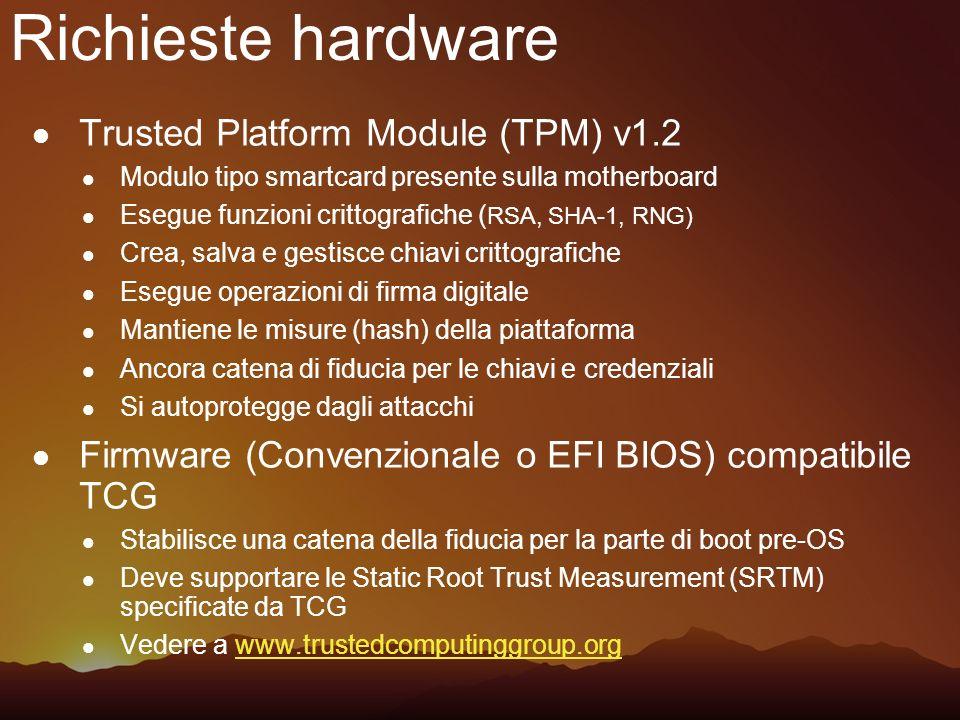 Richieste hardware Trusted Platform Module (TPM) v1.2 Modulo tipo smartcard presente sulla motherboard Esegue funzioni crittografiche ( RSA, SHA-1, RN