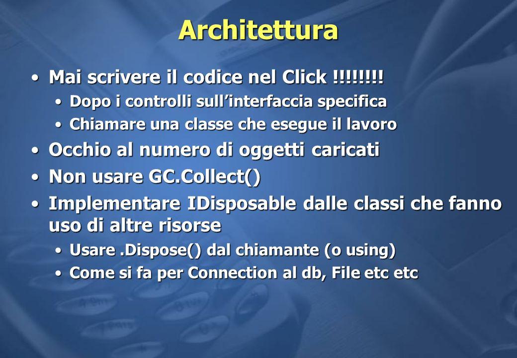 Architettura Mai scrivere il codice nel Click !!!!!!!!Mai scrivere il codice nel Click !!!!!!!.