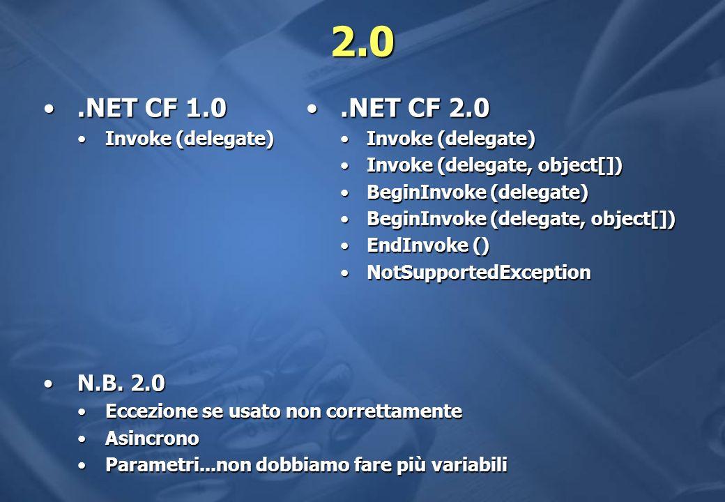 2.0.NET CF 1.0.NET CF 1.0 Invoke (delegate)Invoke (delegate) N.B.