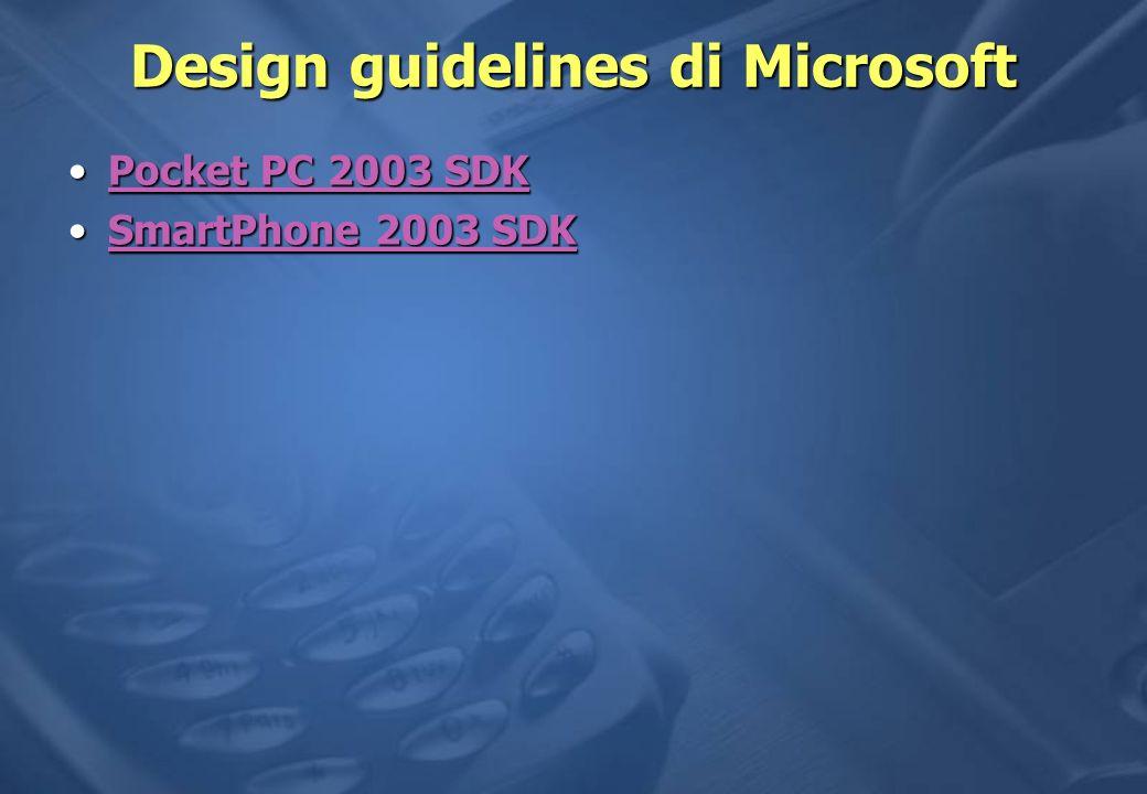 Design guidelines di Microsoft Pocket PC 2003 SDKPocket PC 2003 SDKPocket PC 2003 SDKPocket PC 2003 SDK SmartPhone 2003 SDKSmartPhone 2003 SDKSmartPhone 2003 SDKSmartPhone 2003 SDK