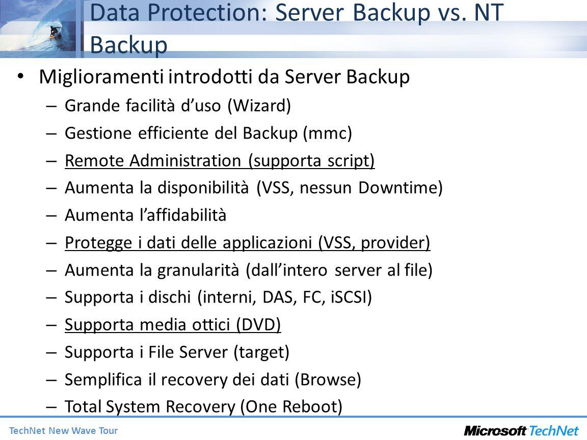 TechNet New Wave Tour Data Protection: Server Backup vs. NT Backup Miglioramenti introdotti da Server Backup – Grande facilità duso (Wizard) – Gestion