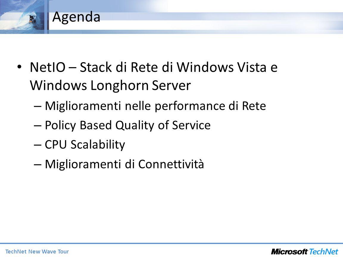 TechNet New Wave Tour Agenda NetIO – Stack di Rete di Windows Vista e Windows Longhorn Server – Miglioramenti nelle performance di Rete – Policy Based Quality of Service – CPU Scalability – Miglioramenti di Connettività
