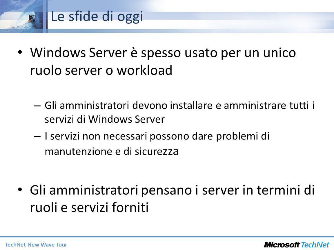 TechNet New Wave Tour Le sfide di oggi Windows Server è spesso usato per un unico ruolo server o workload – Gli amministratori devono installare e amministrare tutti i servizi di Windows Server – I servizi non necessari possono dare problemi di manutenzione e di sicure zza Gli amministratori pensano i server in termini di ruoli e servizi forniti