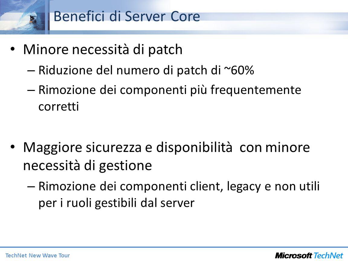 TechNet New Wave Tour Benefici di Server Core Minore necessità di patch – Riduzione del numero di patch di ~60% – Rimozione dei componenti più frequentemente corretti Maggiore sicurezza e disponibilità con minore necessità di gestione – Rimozione dei componenti client, legacy e non utili per i ruoli gestibili dal server