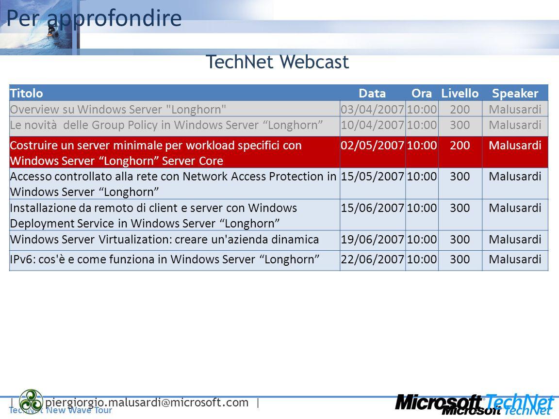 TechNet New Wave Tour | piergiorgio.malusardi@microsoft.com | Per approfondire TitoloDataOraLivelloSpeaker Overview su Windows Server