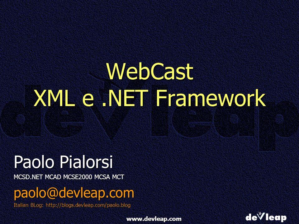 www.devleap.com Leggere XML in un DataSet Il metodo ReadXML legge da:Il metodo ReadXML legge da: Stream, Stringhe, TextReader, XmlReaderStream, Stringhe, TextReader, XmlReader Per interpretare la struttura dati può ragionare in uno dei seguenti modi (enumerazione XmlReadMode):Per interpretare la struttura dati può ragionare in uno dei seguenti modi (enumerazione XmlReadMode): DiffGram: rilegge un documento XML generato con una chiamata a WriteXml(.., DiffGram) ed apporta le modifiche subite al DataSetDiffGram: rilegge un documento XML generato con una chiamata a WriteXml(.., DiffGram) ed apporta le modifiche subite al DataSet Fragment: legge documenti xml che hanno al loro interno (inline) uno schema XDR, per es.