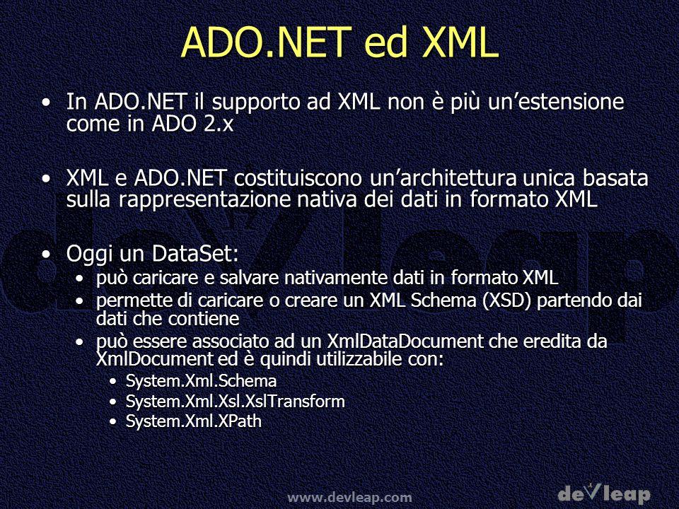 www.devleap.com ADO.NET ed XML In ADO.NET il supporto ad XML non è più unestensione come in ADO 2.xIn ADO.NET il supporto ad XML non è più unestension