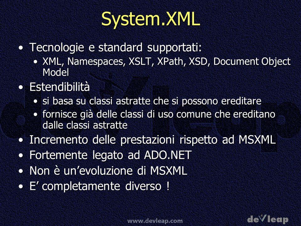www.devleap.com MSDN Webcasts in italiano Stay tuned:Stay tuned:http://www.microsoft.com/italy/msdn/webcast/ Prossimi WebCast su XML:Prossimi WebCast su XML: Applicazioni reali di XML 2 Marzo 2004 dalle 14.30 alle 16.00