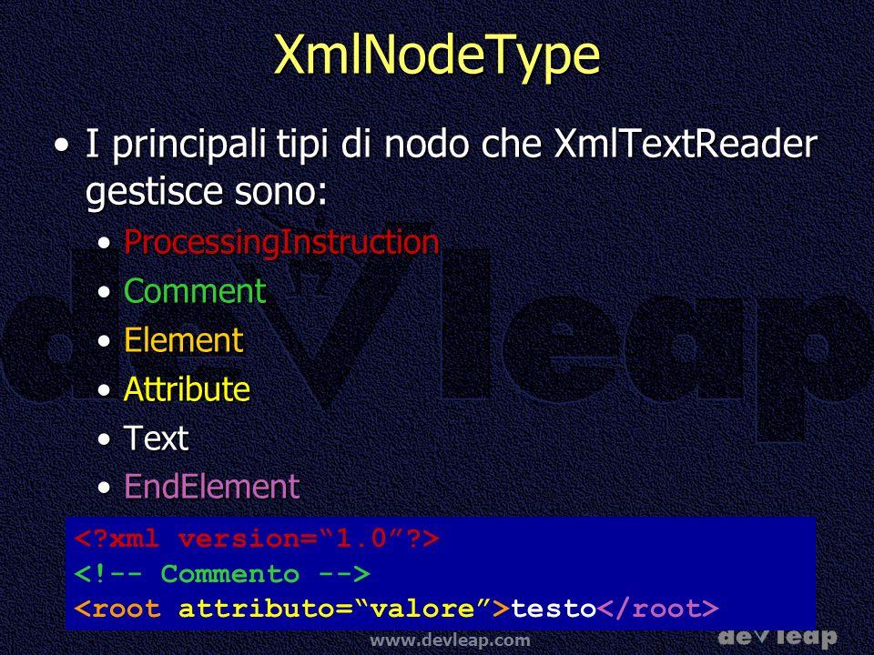 www.devleap.com XmlNodeType I principali tipi di nodo che XmlTextReader gestisce sono:I principali tipi di nodo che XmlTextReader gestisce sono: ProcessingInstructionProcessingInstruction CommentComment ElementElement AttributeAttribute TextText EndElementEndElement testo