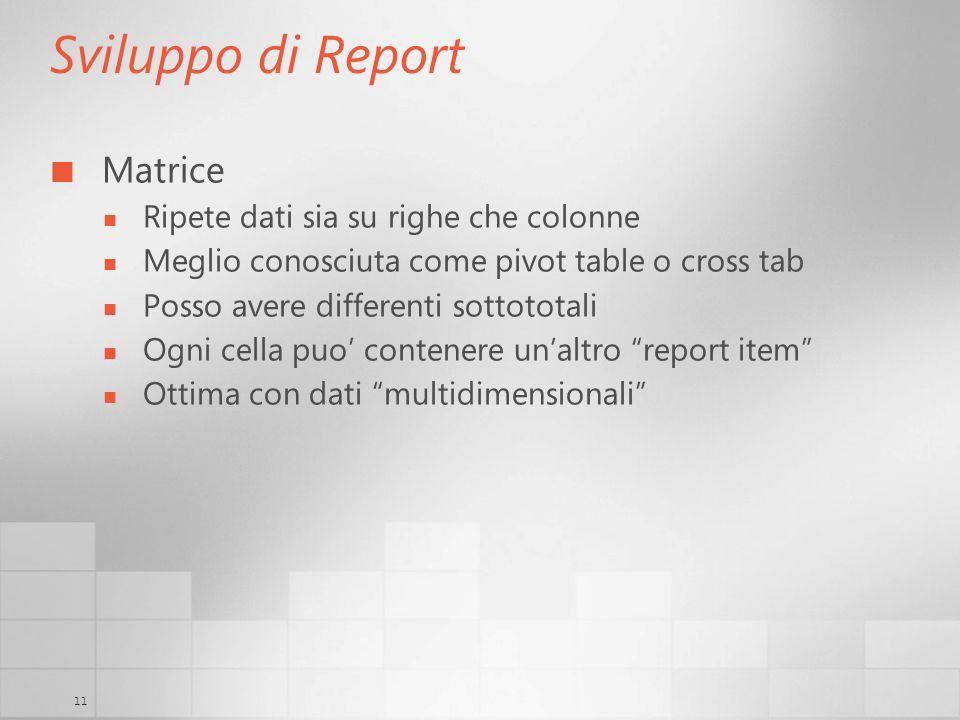 11 Sviluppo di Report Matrice Ripete dati sia su righe che colonne Meglio conosciuta come pivot table o cross tab Posso avere differenti sottototali Ogni cella puo contenere unaltro report item Ottima con dati multidimensionali