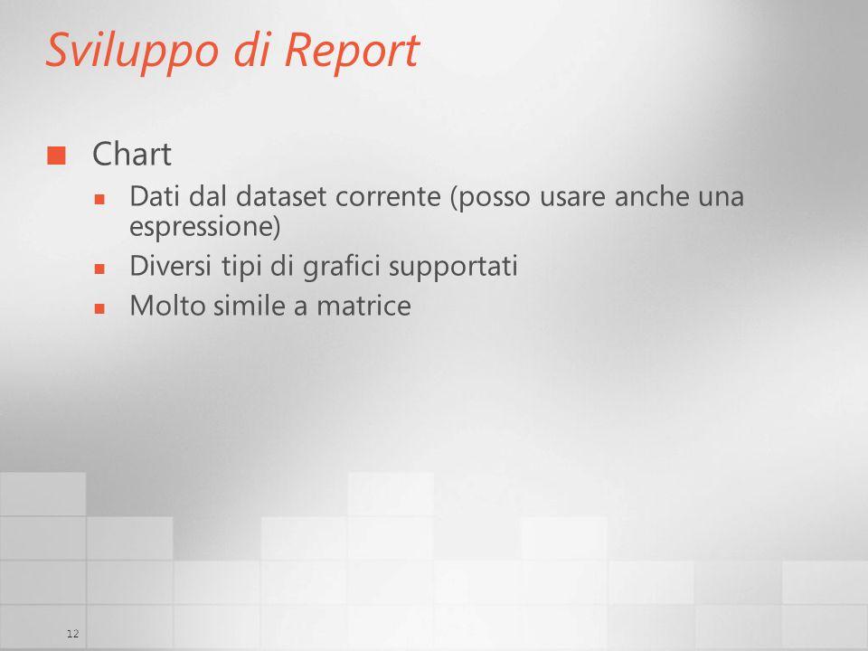 12 Sviluppo di Report Chart Dati dal dataset corrente (posso usare anche una espressione) Diversi tipi di grafici supportati Molto simile a matrice