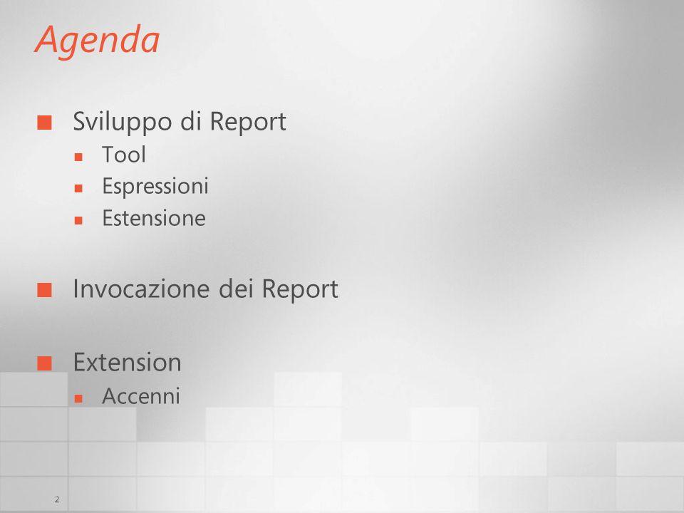 13 Sviluppo di Report Espressioni Praticamente tutte le proprietà accettano espressioni Si usa la sintassi Visual Basic.NET Per creare aggregati e sottototali : Sum, Avg, Count, Min, First, etc.