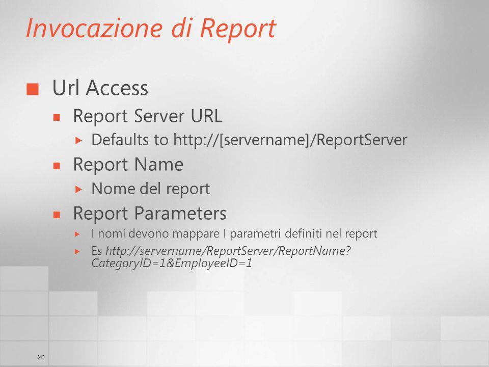 20 Invocazione di Report Url Access Report Server URL Defaults to http://[servername]/ReportServer Report Name Nome del report Report Parameters I nomi devono mappare I parametri definiti nel report Es http://servername/ReportServer/ReportName.