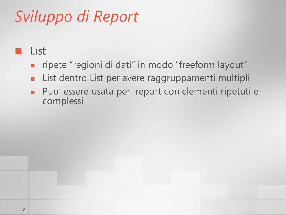 9 Sviluppo di Report List ripete regioni di dati in modo freeform layout List dentro List per avere raggruppamenti multipli Puo essere usata per report con elementi ripetuti e complessi