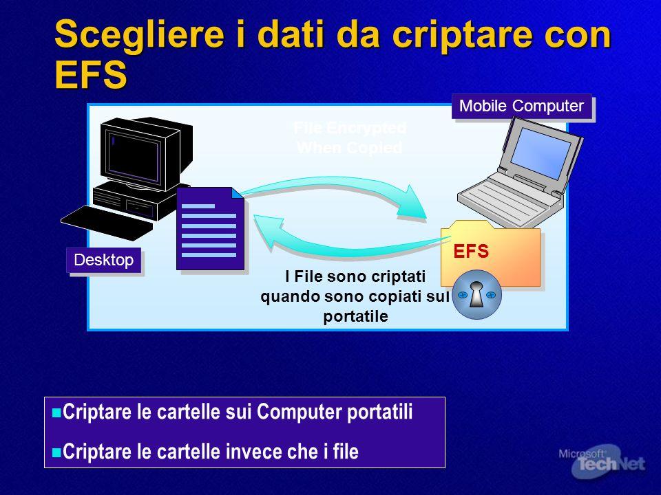 Scegliere i dati da criptare con EFS Mobile Computer Desktop File Encrypted When Copied I File sono criptati quando sono copiati sul portatile Criptar