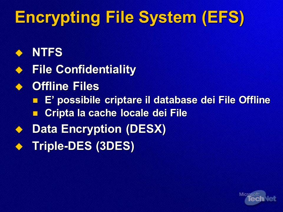 Encrypting File System (EFS) NTFS NTFS File Confidentiality File Confidentiality Offline Files Offline Files E possibile criptare il database dei File