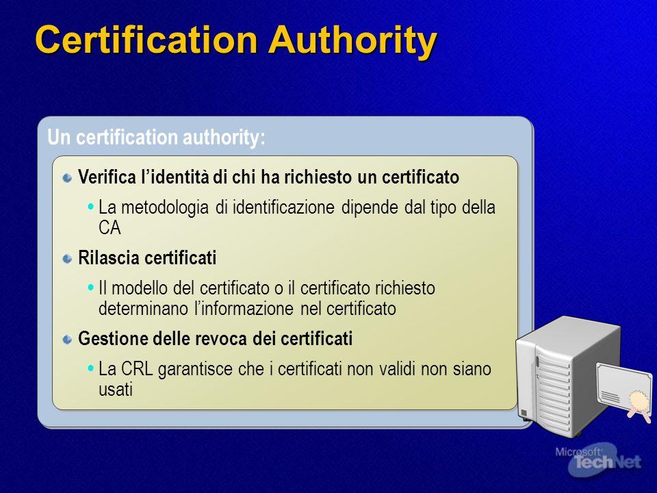 Un certification authority: Verifica lidentità di chi ha richiesto un certificato La metodologia di identificazione dipende dal tipo della CA Rilascia