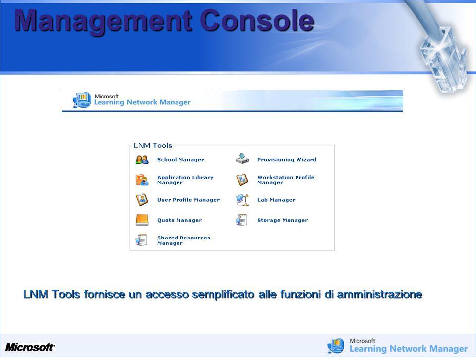 Your Potential. Our Passion Microsoft Management Console LNM Tools fornisce un accesso semplificato alle funzioni di amministrazione