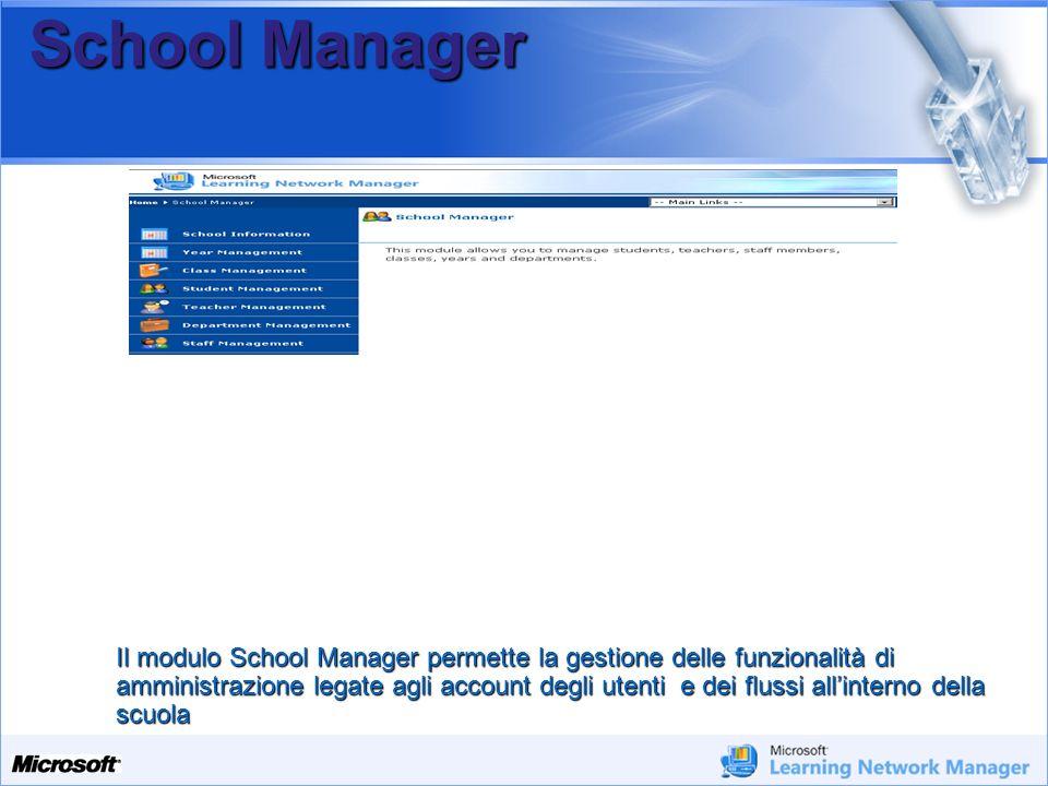 Your Potential. Our Passion Microsoft School Manager Il modulo School Manager permette la gestione delle funzionalità di amministrazione legate agli a