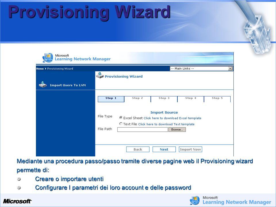 Your Potential. Our Passion Microsoft Provisioning Wizard Mediante una procedura passo/passo tramite diverse pagine web il Provisioning wizard permett