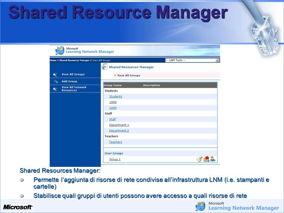 Your Potential. Our Passion Microsoft Shared Resource Manager Shared Resources Manager: Permette laggiunta di risorse di rete condivise allinfrastrutt
