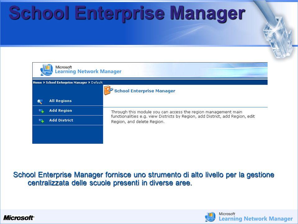 Your Potential. Our Passion Microsoft School Enterprise Manager School Enterprise Manager fornisce uno strumento di alto livello per la gestione centr
