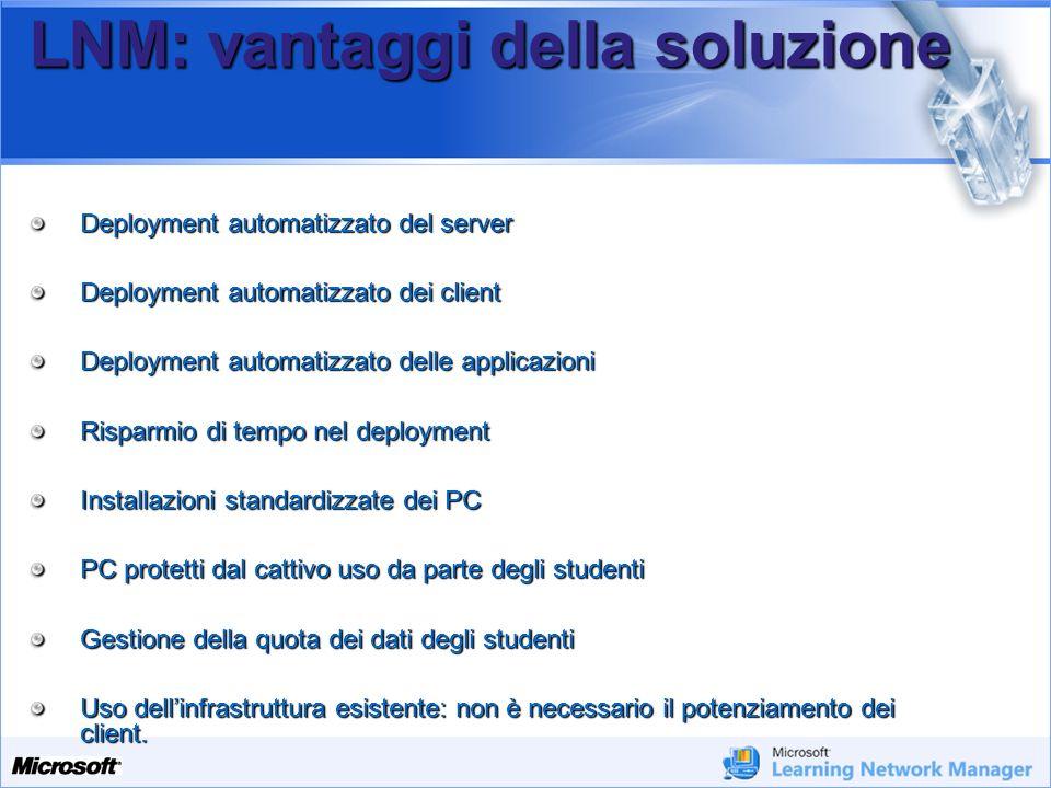 Your Potential. Our Passion Microsoft LNM: vantaggi della soluzione Deployment automatizzato del server Deployment automatizzato dei client Deployment