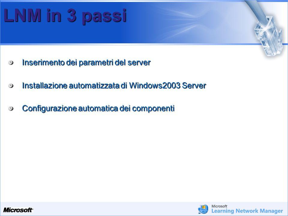 Your Potential. Our Passion Microsoft LNM in 3 passi Inserimento dei parametri del server Installazione automatizzata di Windows2003 Server Configuraz