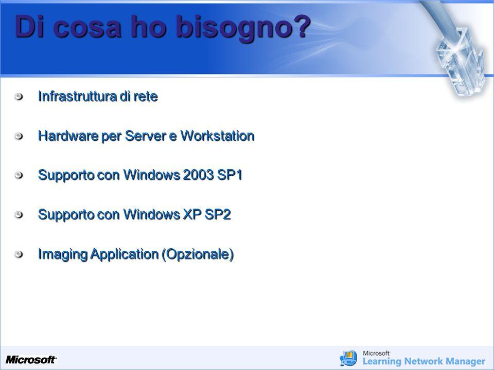 Your Potential. Our Passion Microsoft Di cosa ho bisogno? Infrastruttura di rete Hardware per Server e Workstation Supporto con Windows 2003 SP1 Suppo