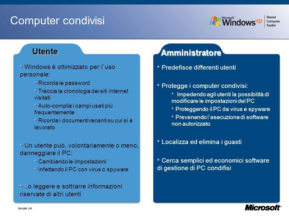 Slide 30 Computer condivisi Windows è ottimizzato per l`uso personale: Ricorda le password Traccia la cronologia dei siti Internet visitati Auto-compi
