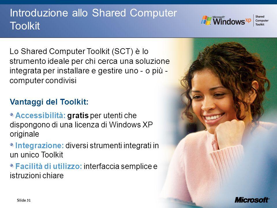 Slide 31 Introduzione allo Shared Computer Toolkit Lo Shared Computer Toolkit (SCT) è lo strumento ideale per chi cerca una soluzione integrata per in