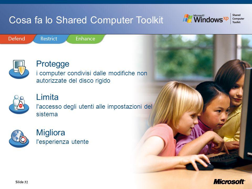 Slide 32 Cosa fa lo Shared Computer Toolkit Protegge i computer condivisi dalle modifiche non autorizzate del disco rigido Limita l'accesso degli uten