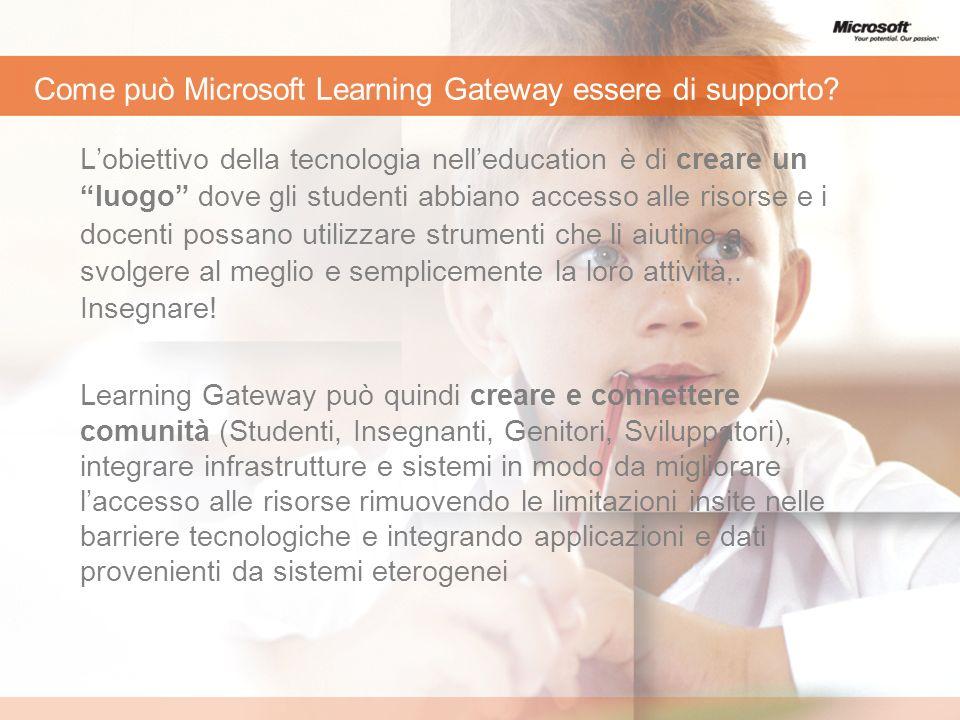 Come può Microsoft Learning Gateway essere di supporto? Lobiettivo della tecnologia nelleducation è di creare un luogo dove gli studenti abbiano acces
