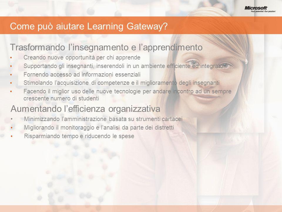 Come può aiutare Learning Gateway? Trasformando linsegnamento e lapprendimento Creando nuove opportunità per chi apprende Supportando gli insegnanti,