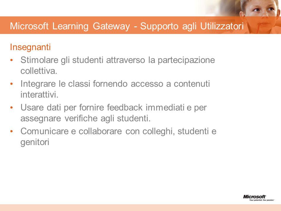 Microsoft Learning Gateway - Supporto agli Utilizzatori Insegnanti Stimolare gli studenti attraverso la partecipazione collettiva. Integrare le classi