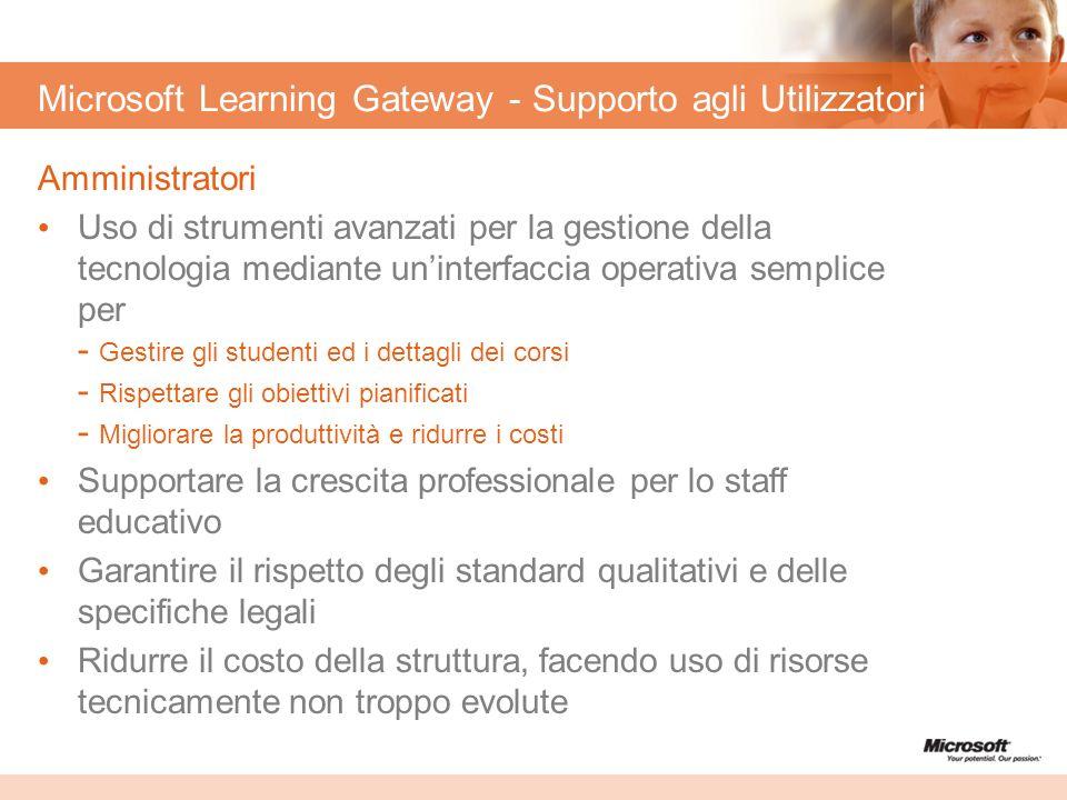 Microsoft Learning Gateway - Supporto agli Utilizzatori Amministratori Uso di strumenti avanzati per la gestione della tecnologia mediante uninterfacc