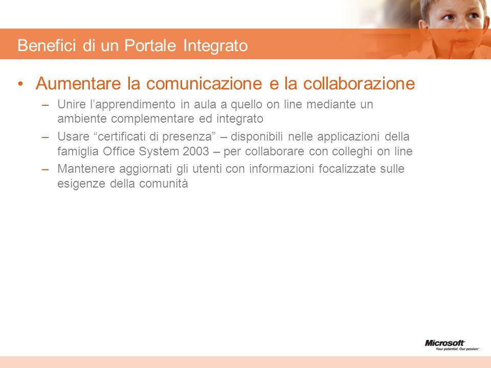 Benefici di un Portale Integrato Aumentare la comunicazione e la collaborazione –Unire lapprendimento in aula a quello on line mediante un ambiente co