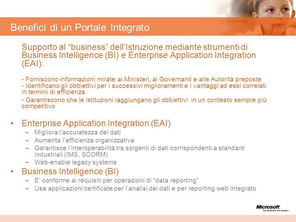 Benefici di un Portale Integrato Supporto al business dellIstruzione mediante strumenti di Business Intelligence (BI) e Enterprise Application Integra