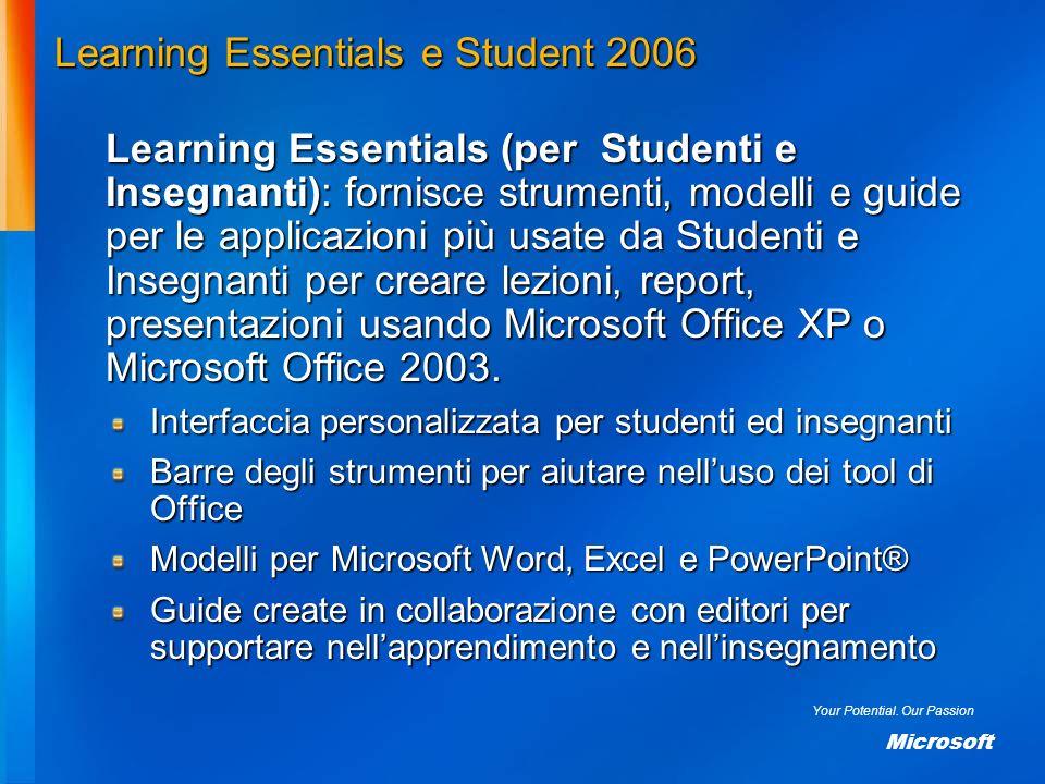 Your Potential. Our Passion Microsoft Learning Essentials e Student 2006 Learning Essentials (per Studenti e Insegnanti): fornisce strumenti, modelli