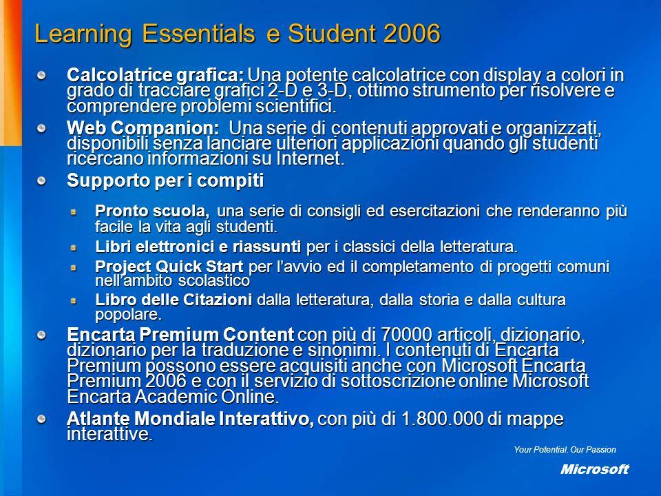 Your Potential. Our Passion Microsoft Learning Essentials e Student 2006 Calcolatrice grafica: Una potente calcolatrice con display a colori in grado