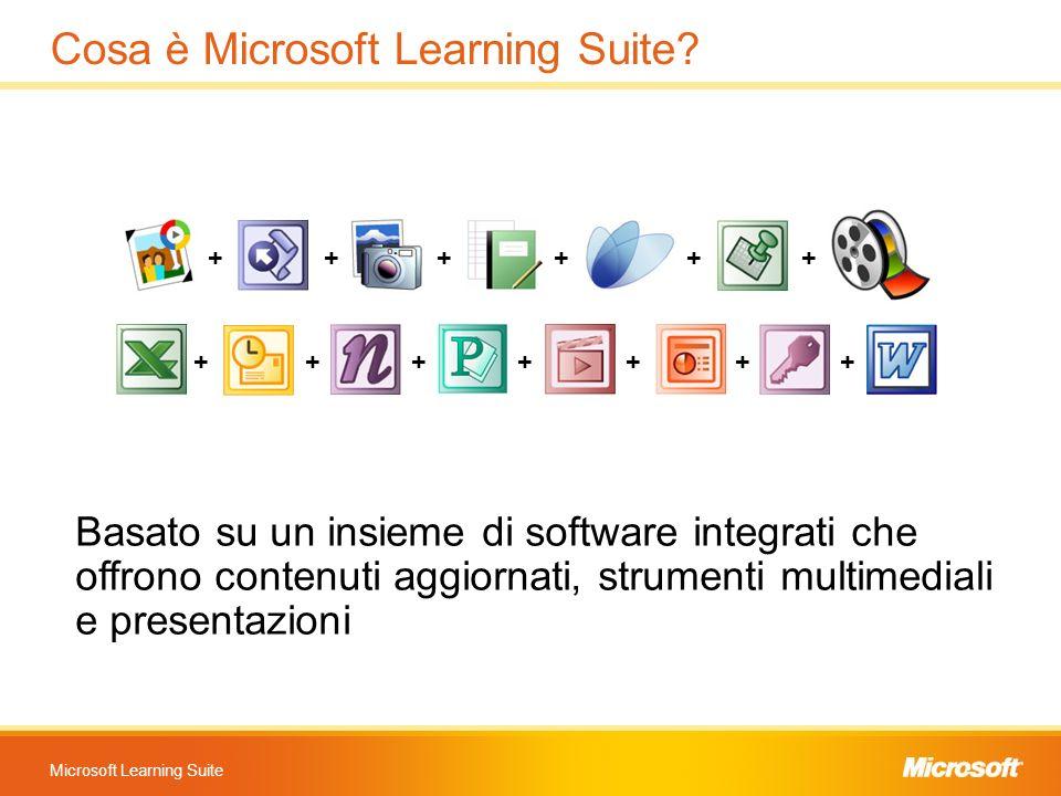 Microsoft Learning Suite Cosa è Microsoft Learning Suite? Basato su un insieme di software integrati che offrono contenuti aggiornati, strumenti multi