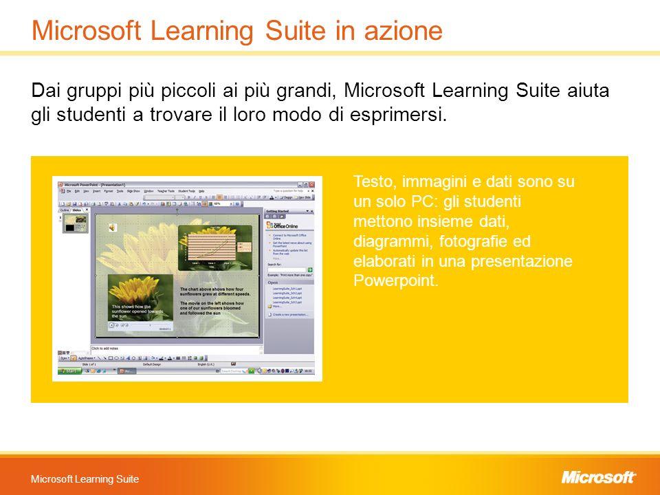 Microsoft Learning Suite Microsoft Learning Suite in azione Dai gruppi più piccoli ai più grandi, Microsoft Learning Suite aiuta gli studenti a trovar