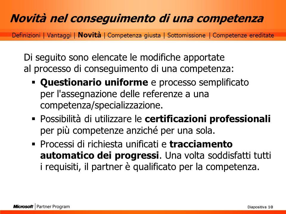Diapositiva 10 Novità nel conseguimento di una competenza Di seguito sono elencate le modifiche apportate al processo di conseguimento di una competen