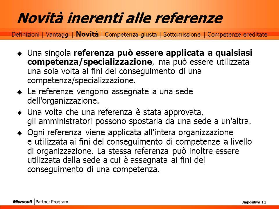Diapositiva 11 Novità inerenti alle referenze Una singola referenza può essere applicata a qualsiasi competenza/specializzazione, ma può essere utiliz