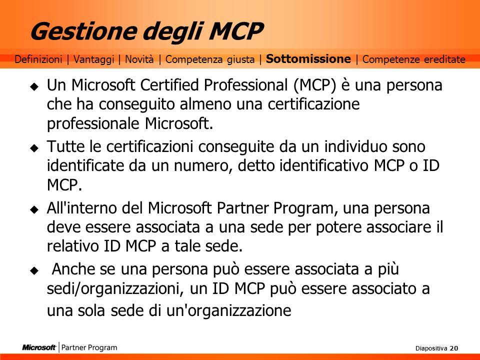 Diapositiva 20 Gestione degli MCP Un Microsoft Certified Professional (MCP) è una persona che ha conseguito almeno una certificazione professionale Mi